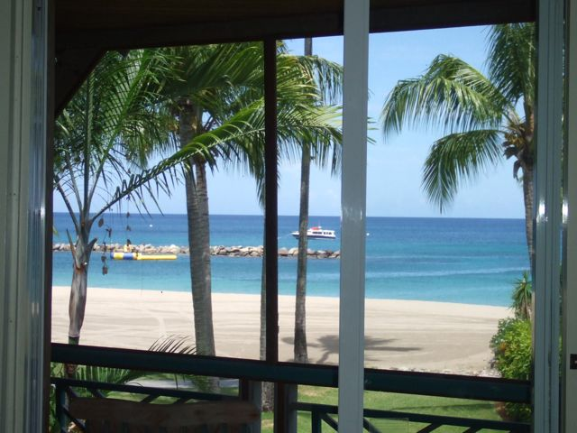 view from four seasons window in nevis for super 8 wedding